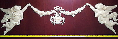 125cm FRENCH ANTIQUE LOUIS XV WHITE RESIN WALL DOOR MOULDING DECORATION