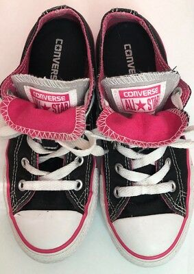 379a740235f2 Converse All Star Girls Double Tongue Size Chuck Taylor Sneakers Black pink