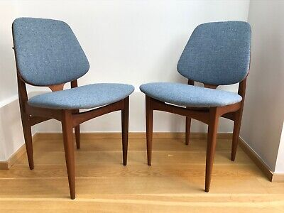 Retro Mid Century Danish Style Pair Two Reupholstered Dining Chairs Blue/Grey