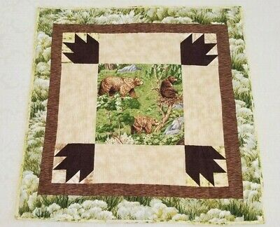 Vintage Handmade Patchwork Quilt Bears Hanging Lap Throw 34.5 X 34 Cabin Rustic
