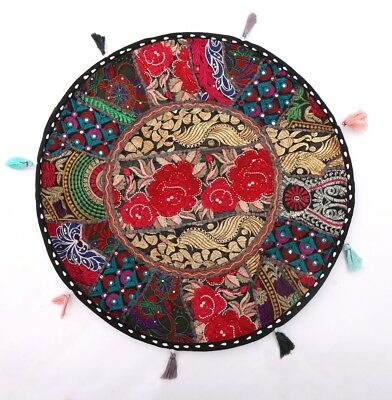 "Indian Black Vintage 22"" Floor Cushion Cover Patchwork Pouffe Pillow Throw Decor"