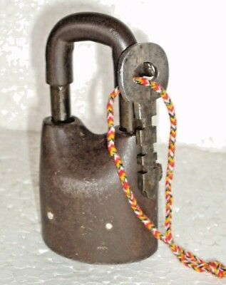 Vintage solid Iron Unique Hand Made padlock with key Heavy Rich patina lock