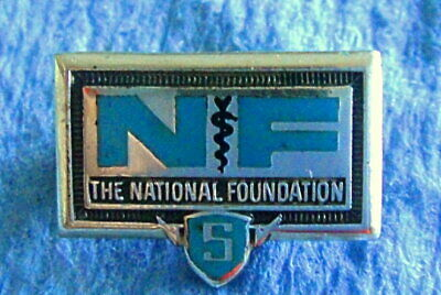 Vintage Service Award Pin Badge: THE NATIONAL FOUNDATION; Sterling Silver