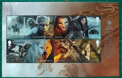 2018 GAME OF THRONES PSB Booklet Pane 3 UM Giants Dragons Wolves Night King