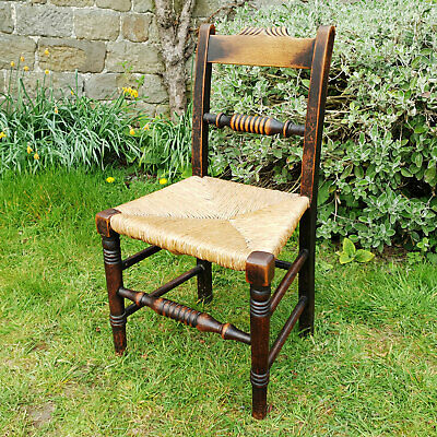 George III Oak Rope Back Rush Seat Country Chair C19th (Georgian Dining Side)