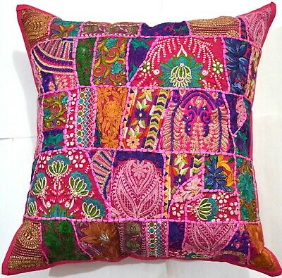 "24"" Pink Bohemian Embroidered Decorative Patchwork Pillow/Cushion Cover Throw"