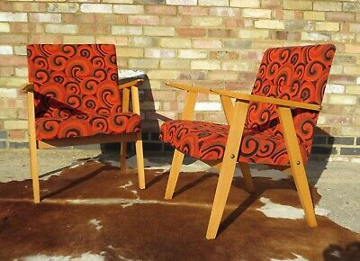 Pair Of Mid Century East German / Danish Style Armchairs Chairs C1970 Apr194