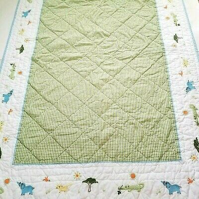 Pottery Barn Kids Green Gingham Embroidered Animals BABY TODDLER QUILT 50 x 36""