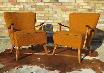 Pair Vintage German Cocktail Chairs With Armchairs  Apr19-15
