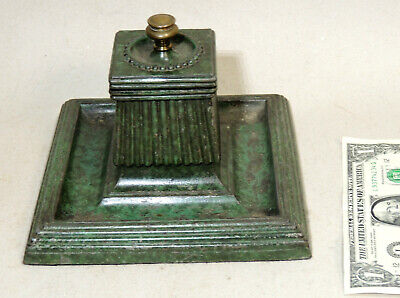 Large Antique vtg Cast Iron Banker's INKWELL Art Deco Inkstand Green Paint Judd?