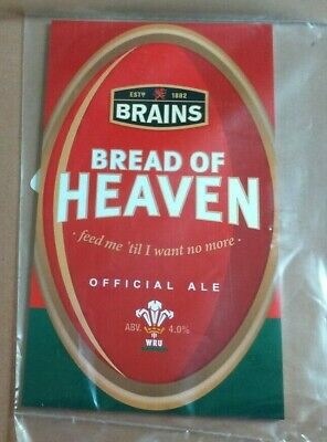 Beer pump clip front BRAINS brewery BREAD OF HEAVEN ale wales rugby theme NEW