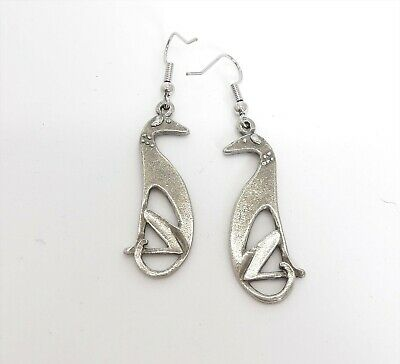 Pewter Art Deco style greyhound earrings