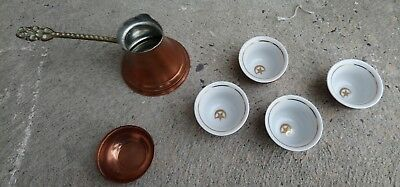 Vintage Handcrafted Islamic Turkish Copper Tin Serving Set and Coffee Pot