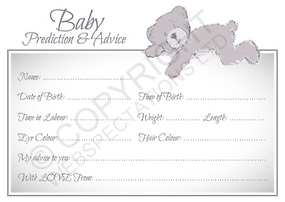 10 BABY SHOWER Prediction & Advice Cards Party Games Girls Boys Keepsake New Mum