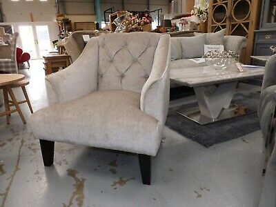 Viscount chesterfield style Armchair in champagne colour fabric rrp £489 on sale
