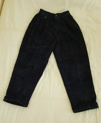 "M&S Marks & Spencer Boys' Navy Blue Corduroy Trousers Age 10 Waist 24"" / Leg 24"""