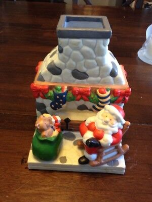 PARTYLITE Santa By Chimney With Bag Of Presents Tea Light Holder