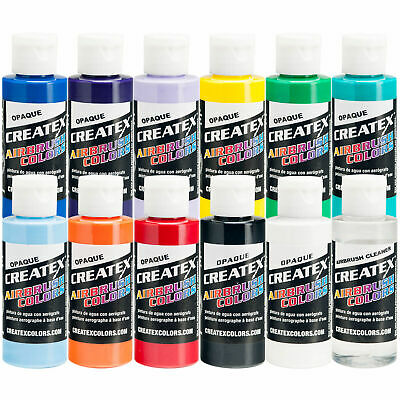 Createx 12 Color Opaque Airbrush Paint Set, 2 oz. Bottles (11 colors + cleaner)