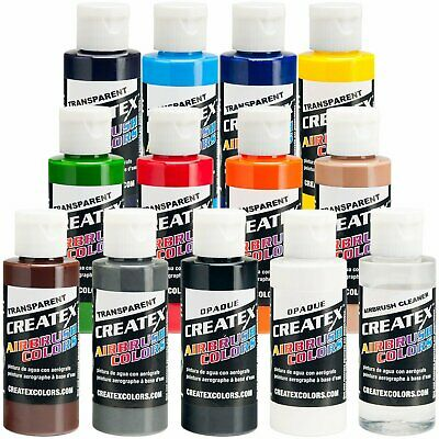 Createx 12 Color Transparent Airbrush Paint Set 2 oz Bottles (12 colors+cleaner)