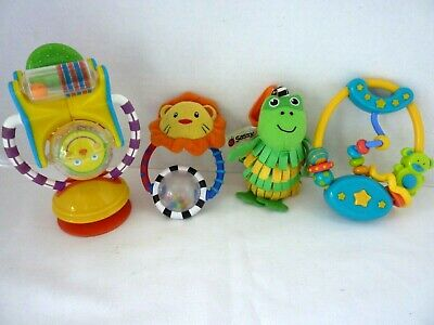 Infant Developmental Toy Lot Bright Star Sounds Rattle Sassy Rattle Attachment