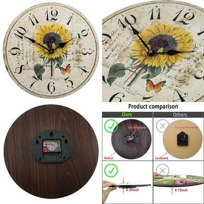 Vievogue Retro Wooden Wall Clock, Large Vintage Rustic Colorful Non -Ticking Sil