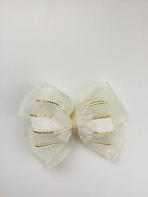 "Wedding Flower Girls Small 3"" Ivory & Gold Hair Bow Clip & Sparkle Edge Ribbon"