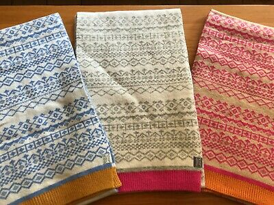 JOULES Elsa Scarf in Grey Blue or Pink Fairisle in One Size RRP£44.95 FreeUKP&P