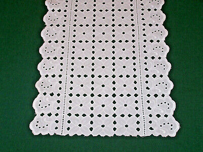 2 VINTAGE EYELET, BRODERIE ANGLAISE RUNNERS, SNOW WHITE, c1950