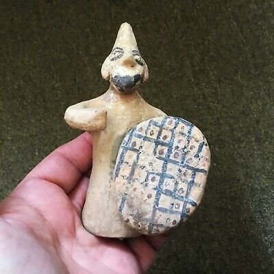 Archaic-Cypriot 800-500Bce Ancient Terracotta Soldier Statuette Very Rare
