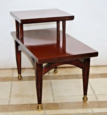 Gorgeous Mid Century Modern Brass Mahogany End Table Step top arch theme