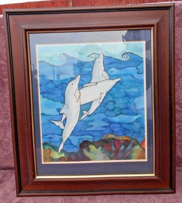 3D BLACK FRAMED 4 DOLPHINS LEAPING 5D PICTURE 465mm x 365mm
