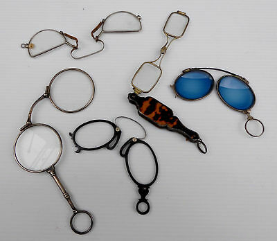 lot de lorgnons, face à main, pince-nez, optique de collection XIXe,