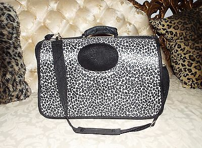 COLLAPSIBLE PET CAT SMALL Dog CARRIER, Leopard Print Mesh Removable Long Strap