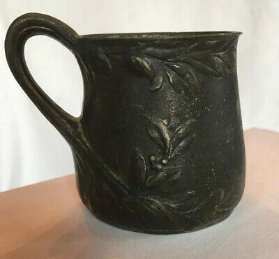 Vintage Antique Imperial Zinn B&G 4580 Pewter Cup Art Nouveau Handle Leaves Mug
