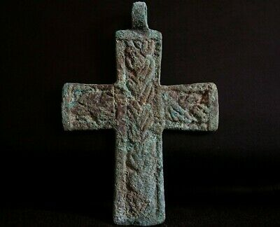 Ancient Viking Bronze Cross. Rare Amulet with Norse interwoven Knot, 950-1000 Ad