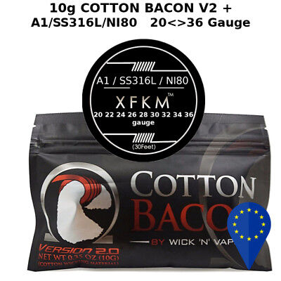 10g COTTON BACON V2 VAPE + A1/NI80/SS316L 20 22 24 26 28 30 32 34 36 gauge awg