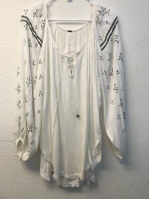 32c851f2100e6 Free People ivory white Lace Up Beaded Peasant Top L boho 3 4 sleeve