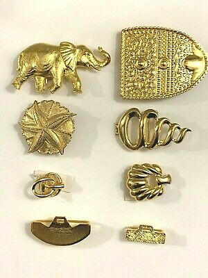 Vtg Dotty Smith 6 Belt Buckles 2 Clasps New Gold Tone Pieces Rare 3 Signed