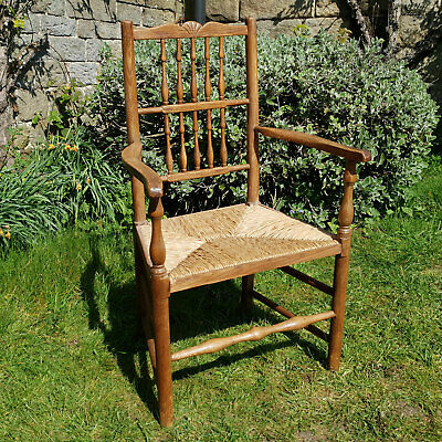 C19th Lancashire Oak & Ash Spindle Back Country Rush Seat Armchair (Victorian)