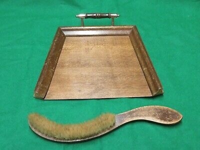 Antique Wooden Oak Crumb Tray -  with brush
