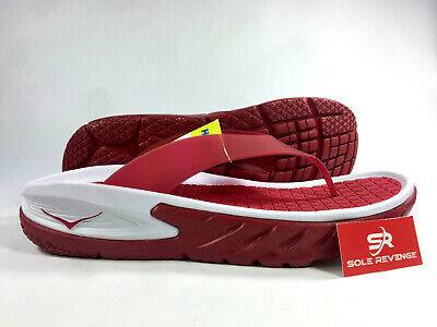 NEW Mens HOKA ONE ONE Ora Recovery Flip Sandals Slide Red White Thong