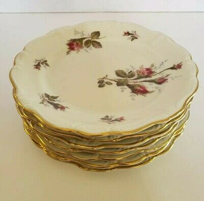 Rosenthal China Moss Rose Pompadour Set of 7 Bread and Butter Plates Germany