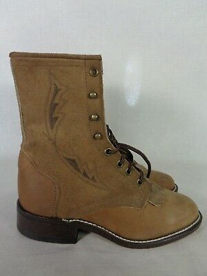 b6e1dbed35c LAREDO WOMEN'S BOOTS Lacers Western Cowboy Kiltie Roper Lace Up Rodeo Work  5 M