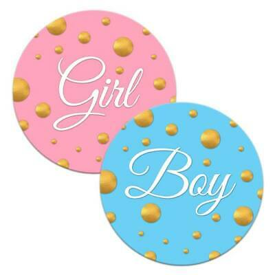 48 READY TO POP BABY SHOWER STICKERS PINK BLUE YELLOW FAVOURS LABELS