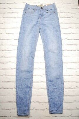 NEW+TAGS Fat Face Womens Blue Floral Skinny Jeans Jeggings Pants W24 L32 (6R)