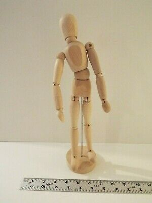 """New-13 1/4"""" Lg Wood Articulated Artists Model Mannequin-With Base-Art-Wooden"""