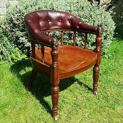 C19th Leather Upholstered Mahogany Captains Armchair (Victorian William IV Desk)