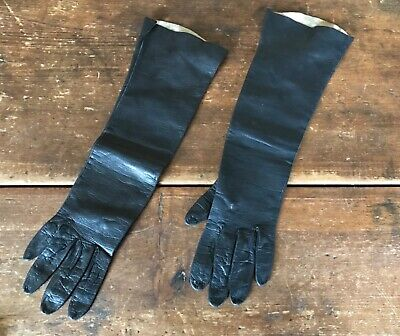 ANTIQUE VICTORIAN EDWARDIAN Long Black Kid Leather gloves