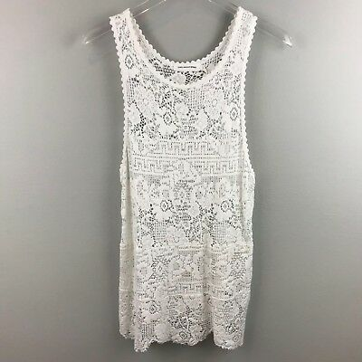 da62ae930e Isabel Marant Etoile Top 38 Floral Crochet Lace Scalloped Women White  Sleeveless
