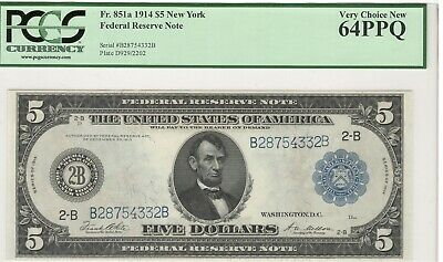 1914 $5 Federal Reserve Note - New York - Fr.851a PCGS 64 PPQ